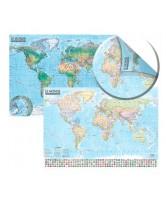 Carte du monde : politique et physique - 1/21 500 000